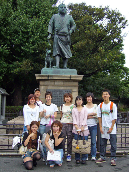 Students at Ueno Statue